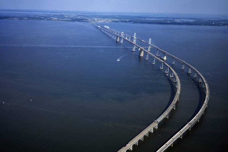An aerial view of the Chesapeake Bay Bridge shows how long it is.