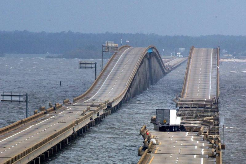 The Pensacola Bay Bridge is being repaired after Hurricane Ivan.