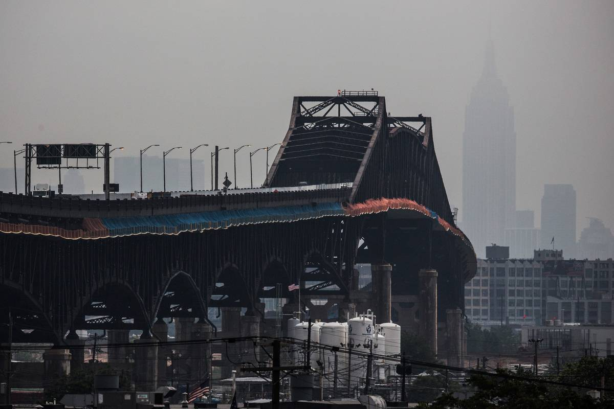 The Pulaski Skyway is seen stretching over to Jersey City.