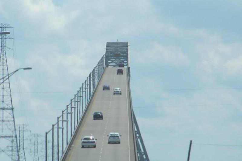 Cars travel up the Rainbow Bridge in Texas.