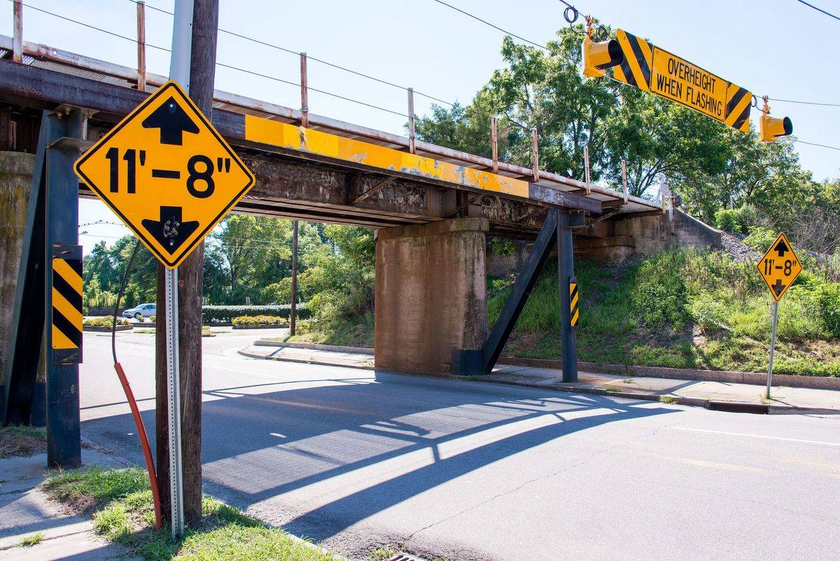An 11-foot-eight-inch overpass is pictured in North Carolina.