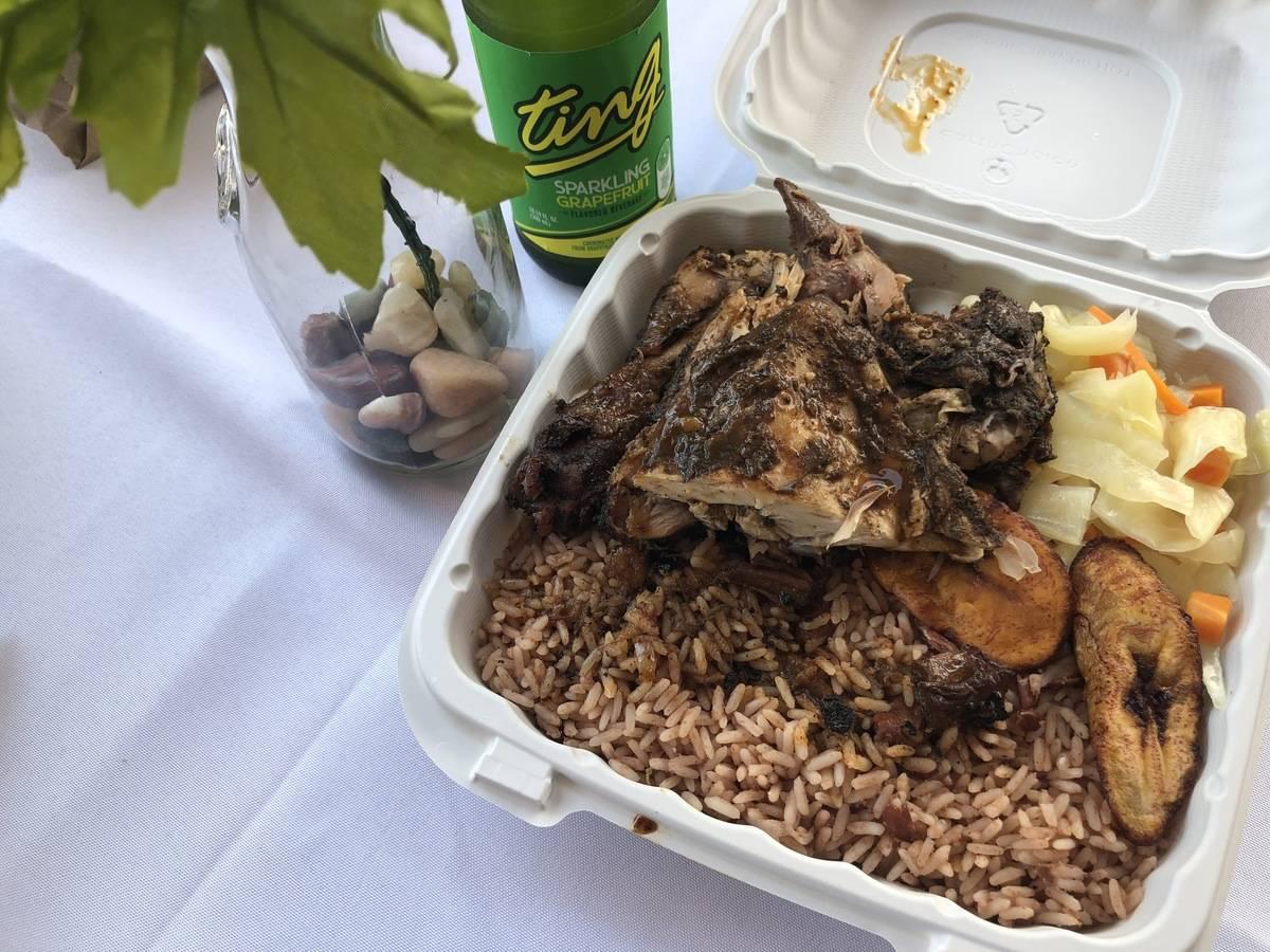A serving of jerk chicken from a Long Island Jamaica restaurant