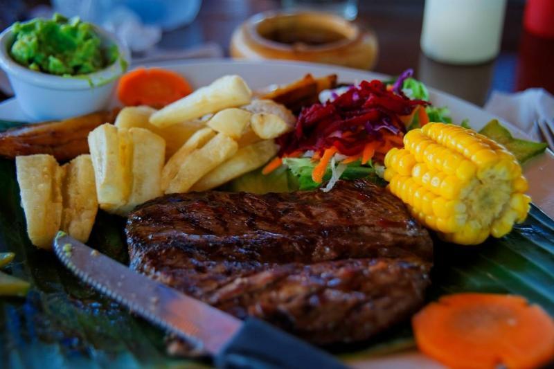 Steak and Yucca. Liberia near Airport. Guanacaste. Republic of Costa Rica. Central America