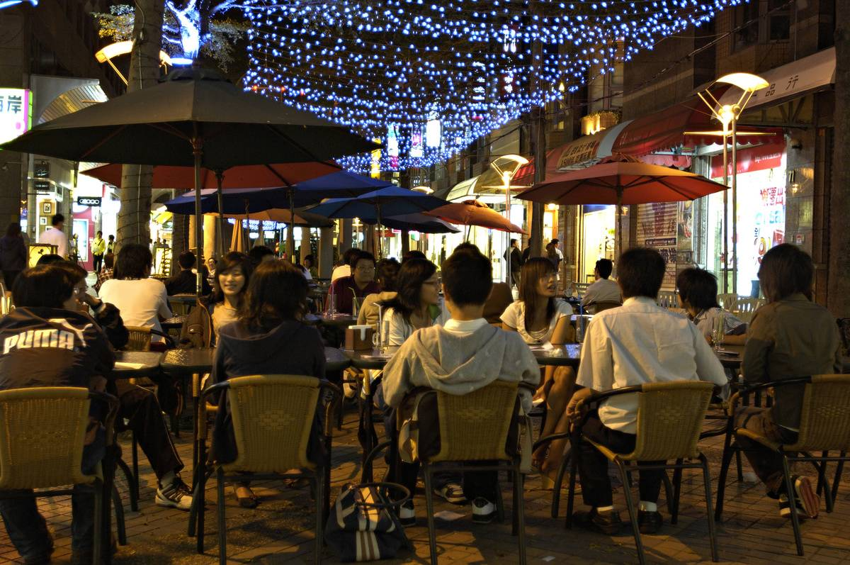 Taichung's most popular pedestrian road of Jingming 1st...
