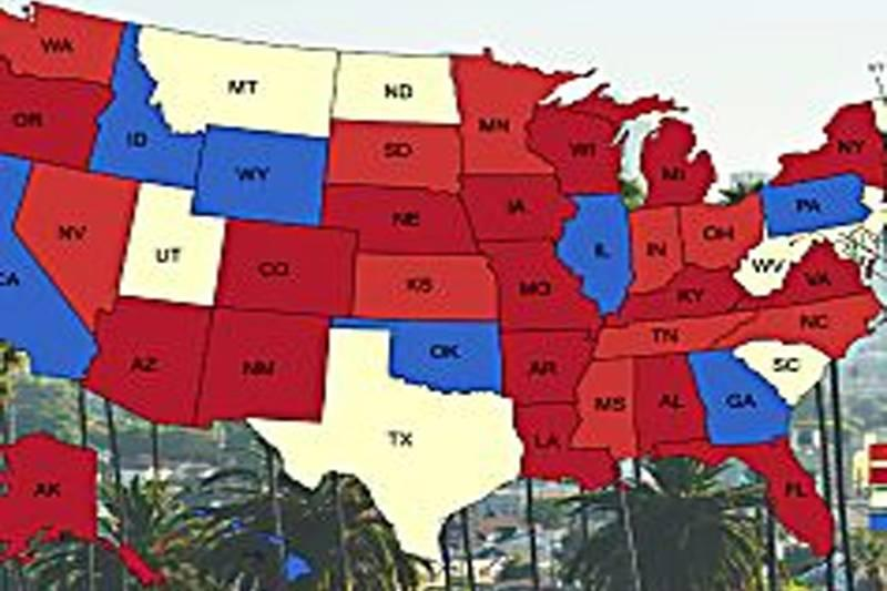 a map of the United States with palm trees in the background