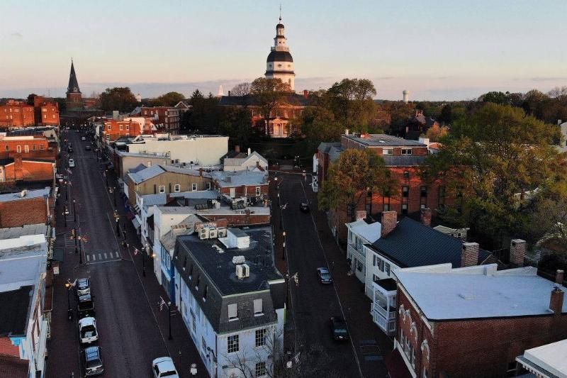 An aerial view from a drone shows the 248 year-old Maryland State House