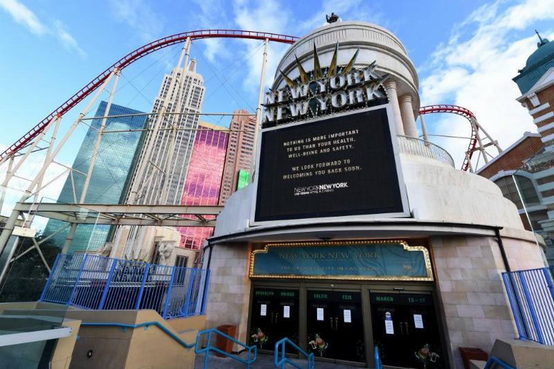 A sign at an entrance at New York-New York Hotel & Casino