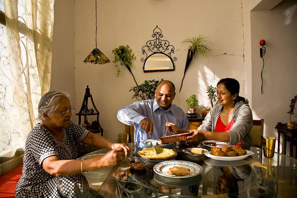 a family eating dinner in India